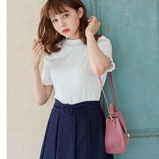 全新 現貨 日牌 日本流行品牌 INGNI 可愛捲邊短袖上衣 白/紫 共二色