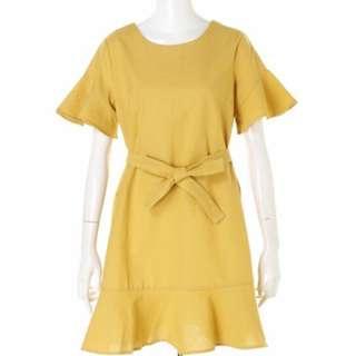 全新 日本專櫃品牌 Sneep Dip 綁帶荷葉邊連身裙 洋裝 共2色