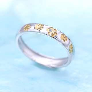 🚚 Paws pave ring, dog ring, meow ring, 925 silver ring, yellow gold, Tigarpaws collection, RN350