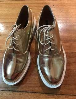 Zara trf oxford shoes gold