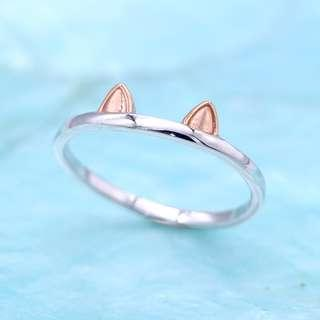 🚚 Pet Kitten Cat Dog Meow ear 925 silver ring, rose gold plated, stackable, tigarpaws collection, RN347