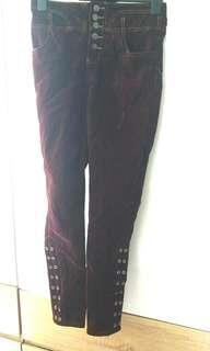 瑕疵品 棗紅高腰褲 內裏絨面 保暖 全新 fleece lined inside pant 75cm waist