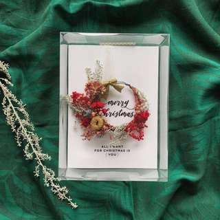 🚚 Personalised Dried Flowers Wreath Christmas Card - All i want for christmas is you