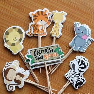 New 24pcs zoo animals cake topper decoration birthday party cake supplies