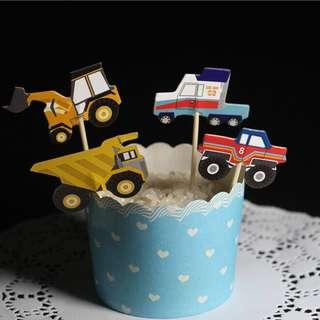 24pcs cake topper construction decorations birthday party tractor truck crane builder theme