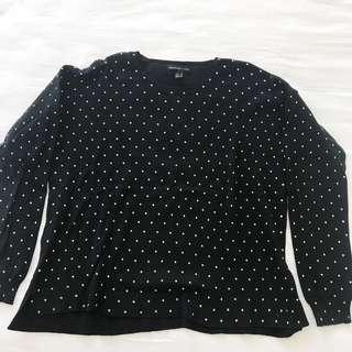 Mango Black Polkadot Knit Sweater Baju Rajut Hitam Lengan Panjang