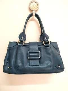 Flain Dark Teal Genuine Leather Handbag