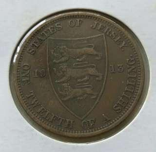 Jersey 1913 1/12 Shilling Coin With Nice Details.Diameter 31mm.
