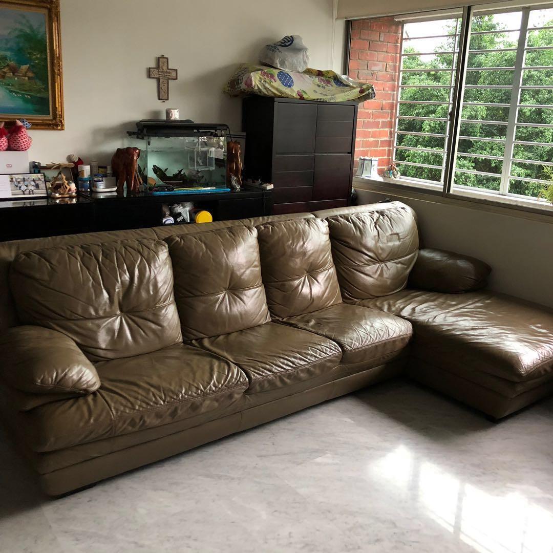 12:12 Sale* Lorenzo Full Leather 4-Seater Sofa, Furniture ...