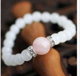 Moonstone and Rose Quartz Stone Love ,Calming and Fertility Bracelet