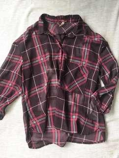 "Bershka plaid checked ""midtown"" shirt with inprint"