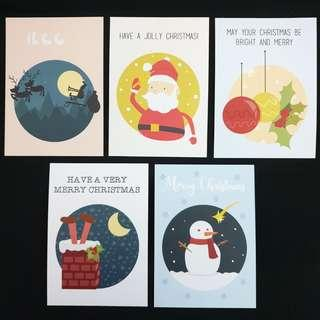🚚 Set of 5 Christmas Cards/Postcards