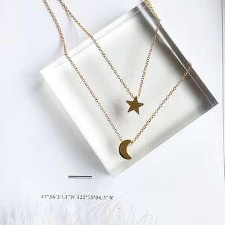 Non Tarnish Layered Moon Star Necklace
