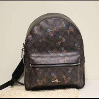 Authentic coach ready stock women mini backpack cherry version 🍒