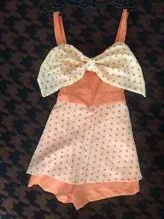 Orange ribbons polka dots romper