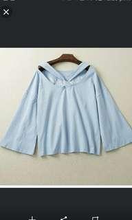 再減 清貨! 全新粉藍色長袖喇叭袖前面綁結 圓領 韓版女裝衫  胸圍114 -132  衫長60 女裝大碼