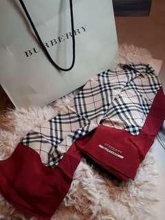 BN- AUTH Burberry Silk Scarf w/packing + Care card