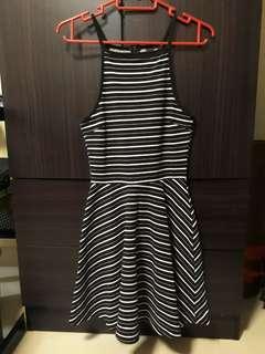 🚚 Monochrome Striped Skater Halter Dress