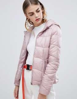 Bershka Women's Pink Light Weight Hooded Padded Jacket