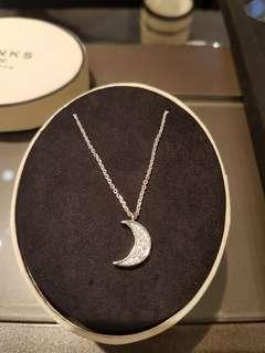 Links of London Sterling Silver white sapphire stones crescent moon necklace  New