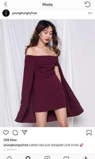 🚚 BNWT YHF MAROON CAPE DRESS