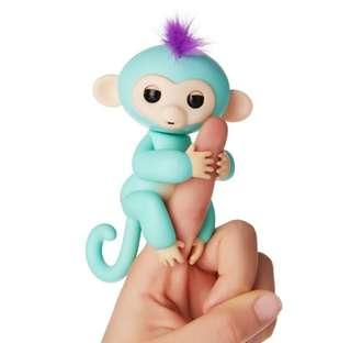 BN Fingerlings - Interactive Pet Baby Monkey - Zoe (Turquoise with Purple Hair) By WowWee