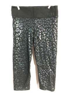 🚚 🖤🖤維多利亞的秘㊙️Victoria's secret PINK 黑色豹紋緊身七分褲🖤🖤S-XS可穿 #九月女裝半價