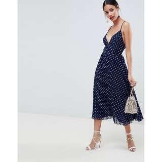 ASOS Design Strappy Pleated Midi Dress in Spot Print