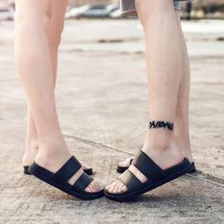 Men's Summer Roman Strap Casual Couple's Slipper Sandals Plus Size [Black/White]