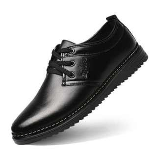 Men's High Fashion Low Heel Round Head Casual Shoes [Black/Brown]