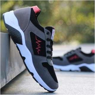Men's Korean Trend Non Slip Wear Casual Running Shoes [Gray/Black]