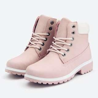 Pink Leather Lace-Up Outdoor/ Winter Boots