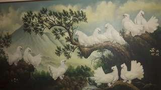 Lukisan Dekor Burung *copy Basuki Abdullah. 220 x 125 cm