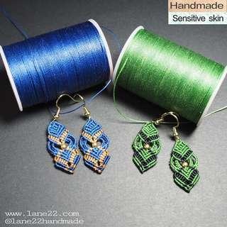 🚚 Handmade woven earrings // [kelly green electric blue macrame macramé colourful dangle earrings lane22]