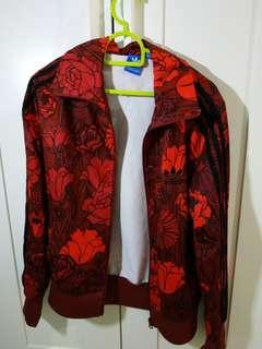 Adidas red floral jacket