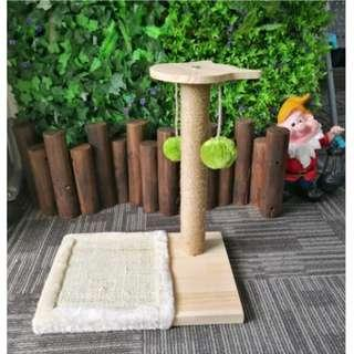 Wooden cat condo scratching pole tree S