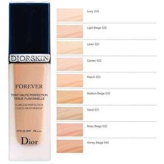 Dior Diorskin Forever Perfect Foundation Broad Spectrum SPF35 shade 010 020 021 022 023 030 031 032