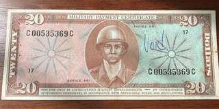 USA Military Payment Certificate $20 Series 681
