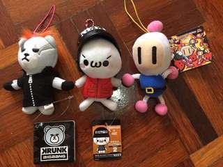 Bomberman Neet Swat Big Bang Soft Plush Figure Key Ring Bag Tag