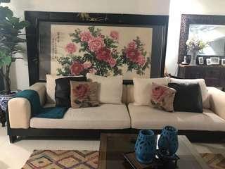 Antique huge Chinese flower frame