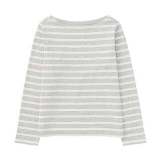 uniqlo grey striped boat neck long sleeve t-shirt