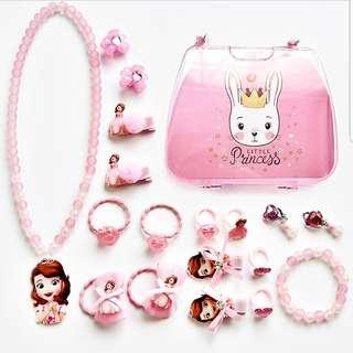 (A3) 18pcs Pink Sophia Princess Girl Necklace Bracelet Earrings Rings Hair Clips Accessories Baby Headband Mickey Minnie Frozen Elsa My Little Pony