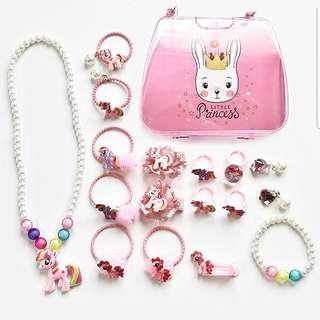 (A4) 18pcs My Little Pony Princess Girl Necklace Bracelet Earrings Rings Hair Clips Accessories Baby Headband Mickey Minnie Frozen Elsa Sophia