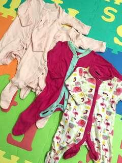 Preloved Mothercare Sleepsuits (size: newborn & up to 1m)