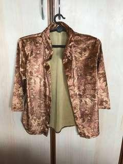 Free mailing! Suede Brown Autumn Leaves Button Up Top