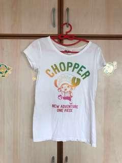 Free mailing! HangTen One Piece Chopper Tony Tony white T-shirt