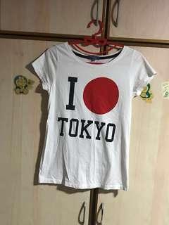 Free mailing! I 🔴 Tokyo, I love Tokyo white T-shirt