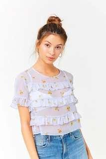 🚚 Forever 21 Sheer Floral Ruffle Trim Top