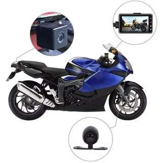 New Bike / Motorbike Front & Rear Recording Camera With LCD - Complete Set with Wirings