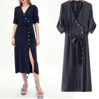 Brand New V Neck Diagonal Button Dress